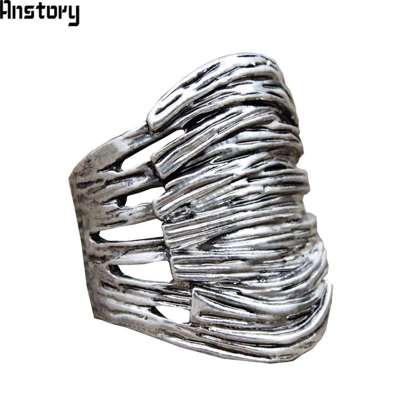Vintage Plant Nest Rings Hollow Design Antique Silver Plated Fashion Jewelry