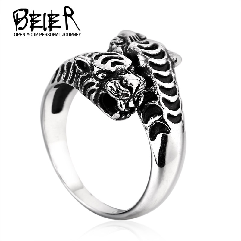 BEIER Double Tiger Head Stainless Steel Ring For Man Personality Biker Animal Jewelry Wholesale Factory Price BR8-252